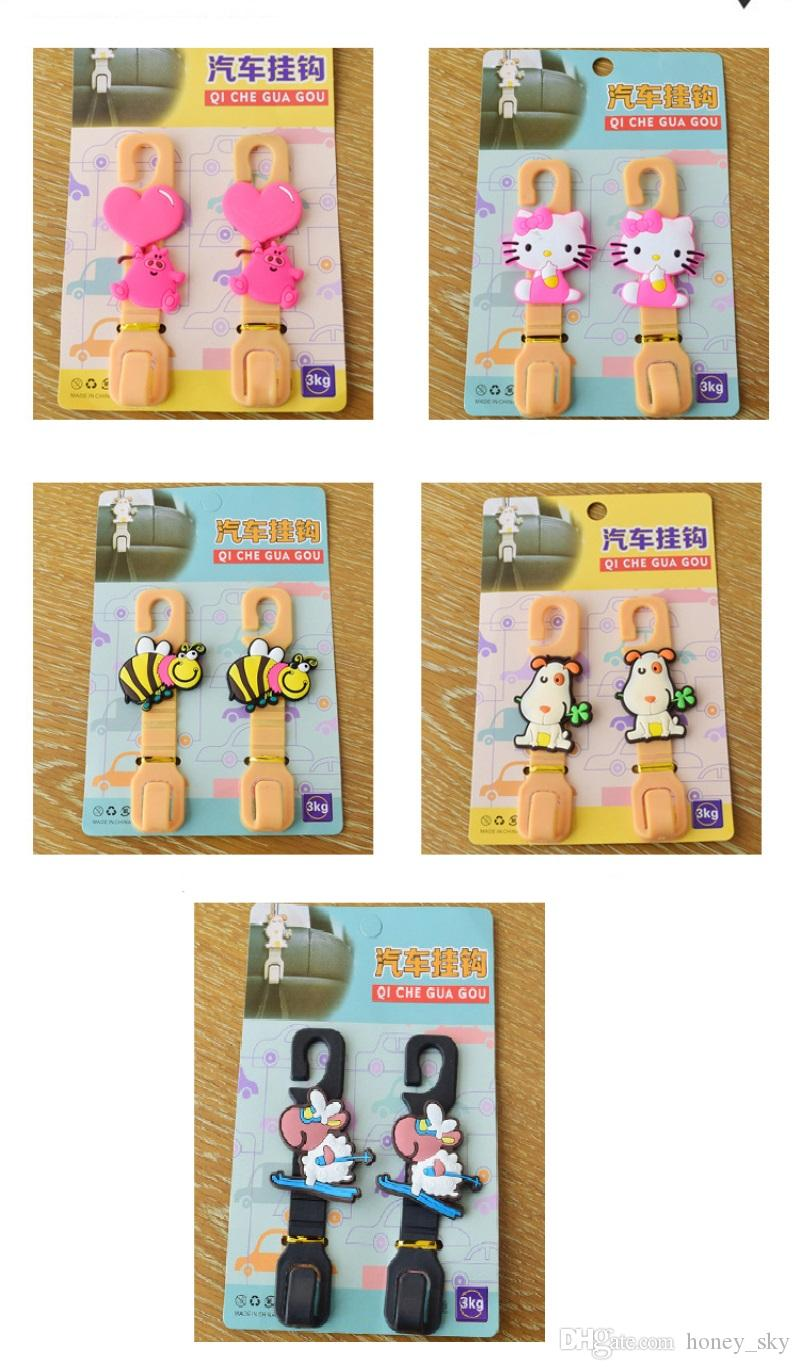 Universal Cute cartoon Car Back Seat Hanger Holder Hook for Bag Purse Cloth Grocery Storage Auto Fastener Clip