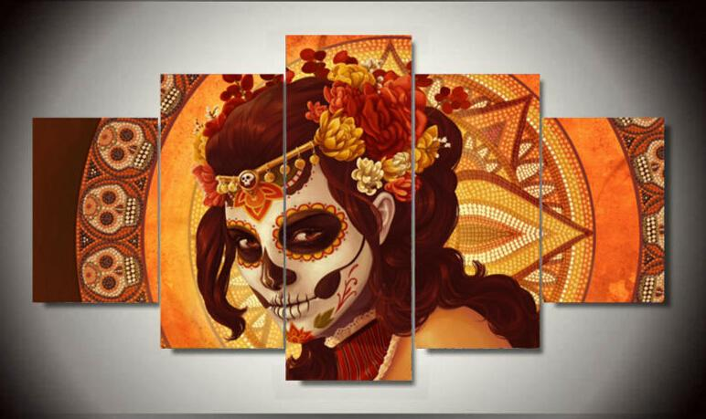 Framed Printed Day of the Dead Face Group Painting room decor print poster picture canvas decoration Free shipping F/979