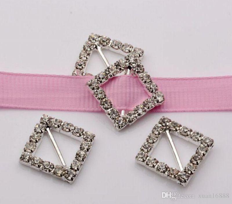 Горячее продавать! Квадратная венчание Invitatin Bling Diamante Ribbon Slider Buckle 21.5 * 21.5mm, Bar 11mm