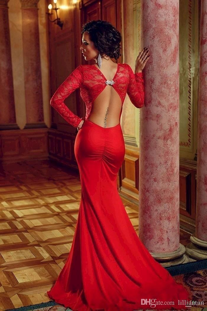 New Arrival Red Sexy Lace Long Sleeves Mermaid Backless Formal Dress Open Back Lace Evening Dresses Long Prom Gowns 2016 Custom Made d034