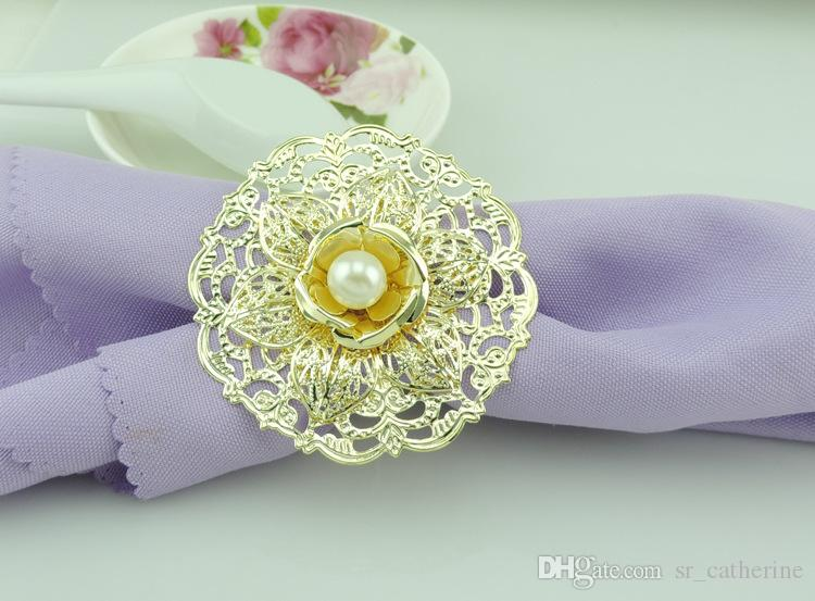 2016 Popular Gold Metal Lotus Flower Napkin Rings White Pearls napkin rings holder for Hotel Wedding Banquet Table Decoration Accessories