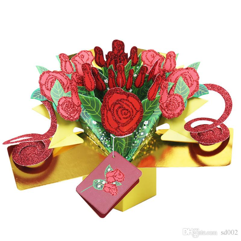 Handicraft Greeting Cards 3D Pop Up Rose Flower Happy Birthday Invitation Card For Valentine Day Gift 8yk1 CW Singing Sister