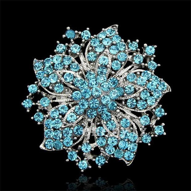 Hermosa Gran Rhinestone Broche de Cristal Chino Redbud Flor Broches Pins Mujeres Wedding Party Dress Accesorios de la Joyería DCBJ04-B