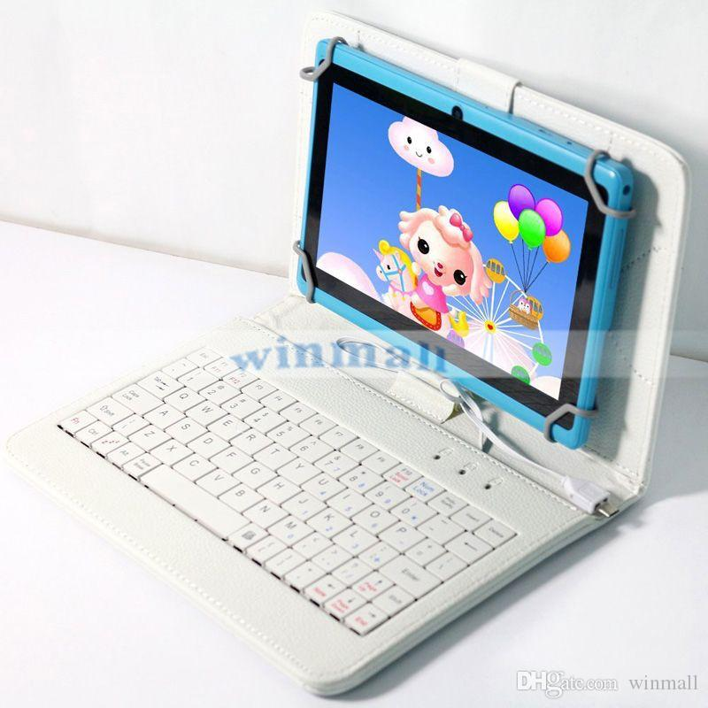 7 인치 안 드 로이드 Tablet PC Q88 Q8 A33에 대 한 마이크로 USB 키보드 경우 PU 가죽 타블렛 스탠드 커버 케이스 Foldable 케이스