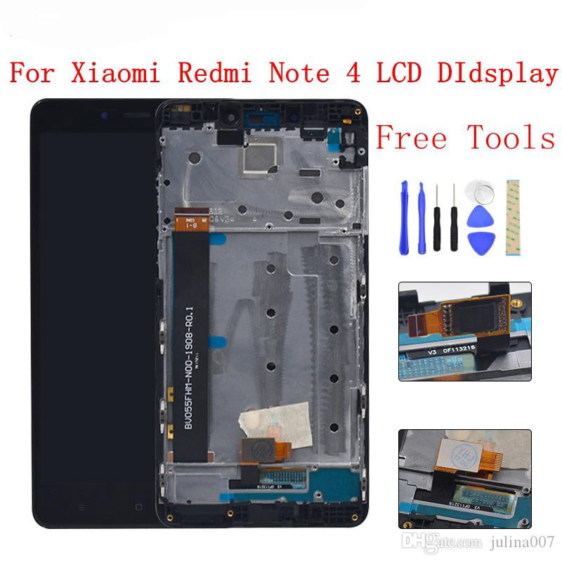 MTK Helio X20 version/global version 32GB/64GB LCD Display Touch Screen Digitizer Assembly + frame For Xiaomi Redmi Note 4