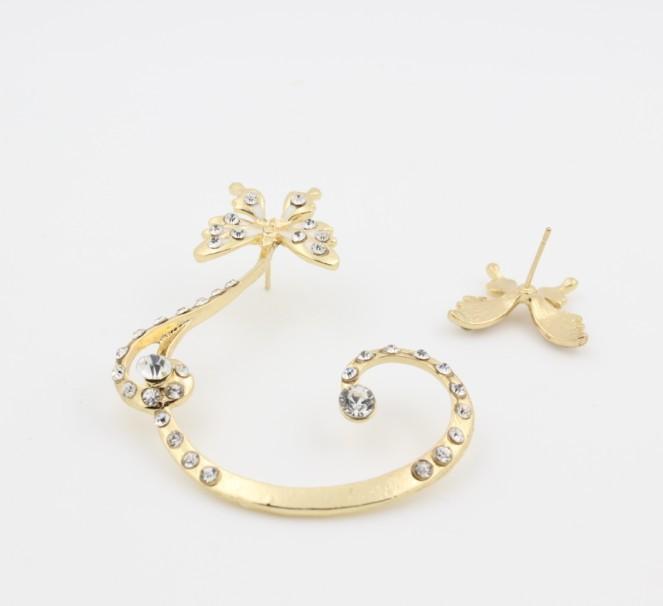 SHUANGR Venda Quente encantadora Mulheres Borboleta Ouvido Cuff Clipe Stud Cristal Brinco de Strass Moda jóias