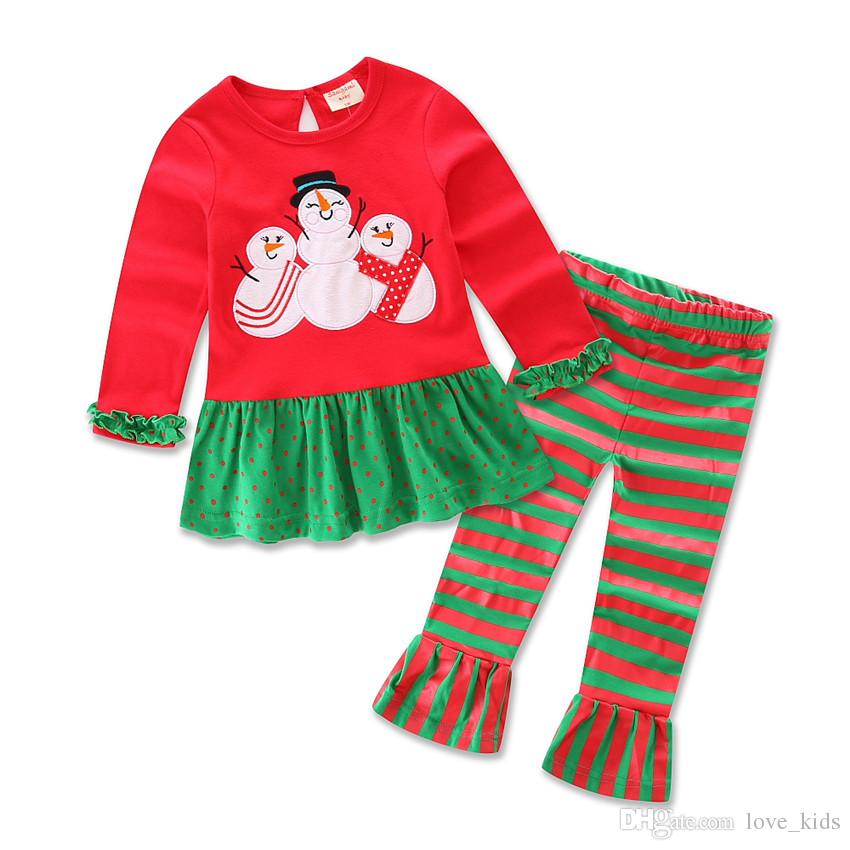 Hot baby boy traje de natal crianças manga comprida dress + calça listrada set meninos do bebê de algodão roupas de natal 6 estilo de alta qualidade