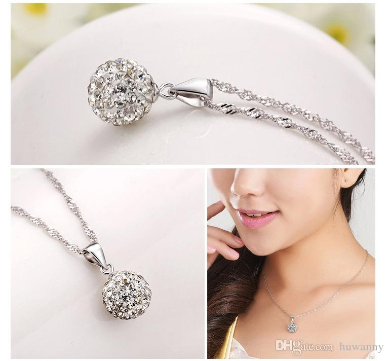 Silver Pendant Necklaces Jewelry Hot Sale Crystal Pendant Chain Necklace For Women Girl Party Fashion Jewelry Wholesale 0212WH