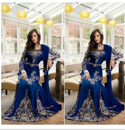 2016 Royal Blue Crystal Muslim Arabic Pageant Dresses Applique Lace Abaya Dubai Kaftan Long Plus Size Formal Prom Party Evening Gowns Shawl