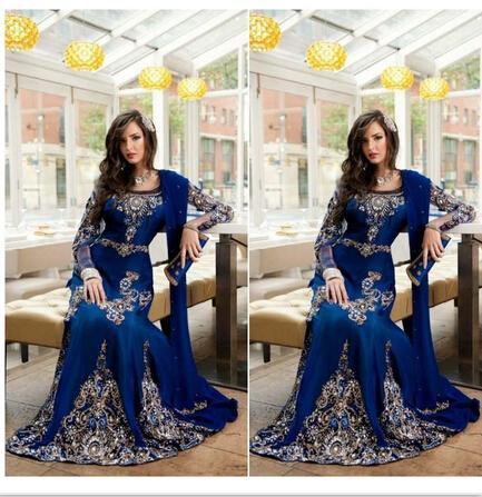 2016 Royal Blue Kristall Muslim Arabisch Festzug Kleider Applique Spitze Abaya Dubai Kaftan Lange Plus Größe Formales Abschlussball-Partei-Abend-Kleid-Schal