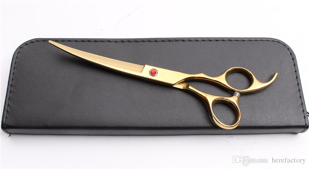 """8"""" 21cm 440C Customized Logo Professional Dogs Pets Hairdressing Shears Grooming Shears UP/Down Curved Cutting Shears Salon Style Tool C4008"""