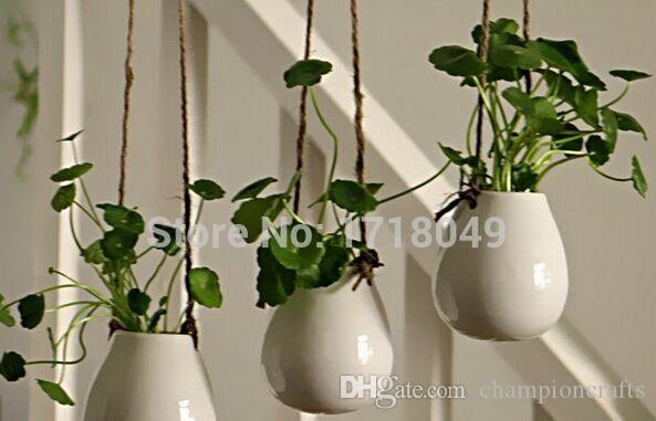White Egg Shaped Ceramic Wall Hanging Pots,Indoor Planter ...