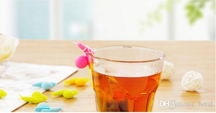 NEW 2016 Snail Wineglass Label for Hang Tea Bag Snails Clip Silicon Colorful Drinkware Gadgets Gifts