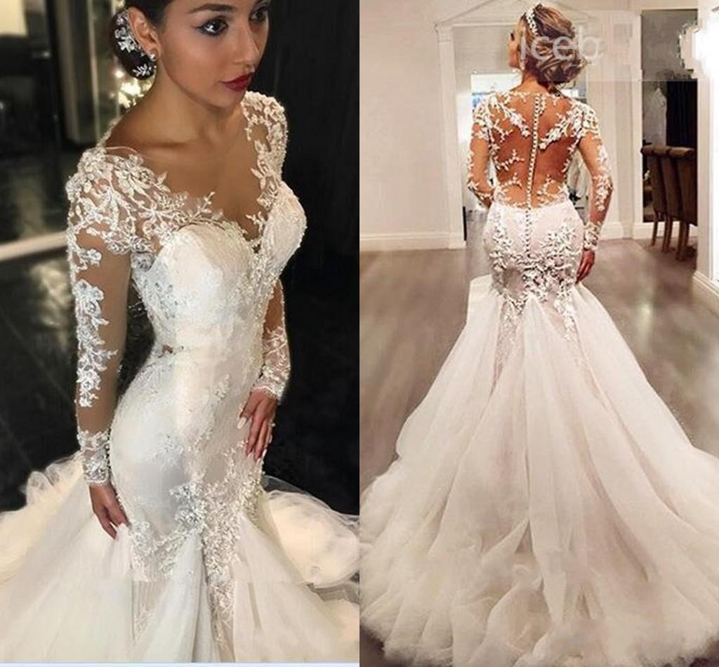 Mermaid Wedding Gowns With Sleeves: New Mermaid Wedding Dresses 2018 Sexy Long Sleeves Lace