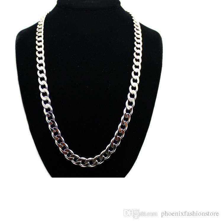 1 stücke 12mm * 80mm Hohe Qualität Edelstahl Bling Hip Hop Halskette Brand New Promi Stil Inspiriert Miami Cuban Link Kette Halskette