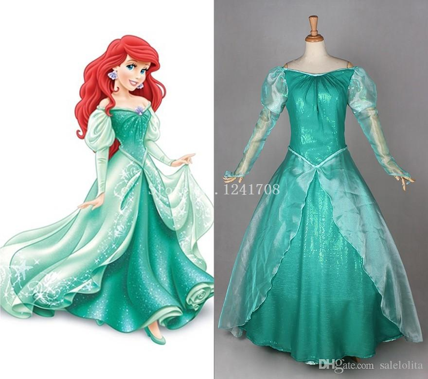 nice Princess Ariel Costume For Adults Part - 7: 2015 Adult Princess Ariel Dress Green Ariel Little Mermaid Cosplay Costume  Halloween Costumes for Women Customized Ariel Dress Princess Ariel Dress  Ariel ...