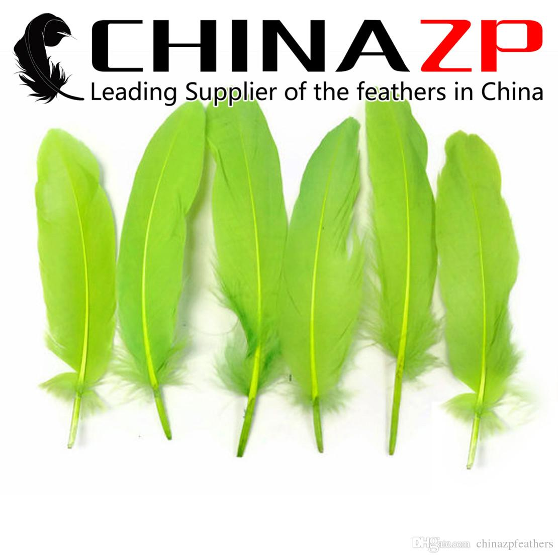 Leading Supplier CHINAZP Crafts Factory 10~15cm4~6inch Top Quality Dyed Lawn Green Loose Goose Wing Feathers for Christmas Decorations