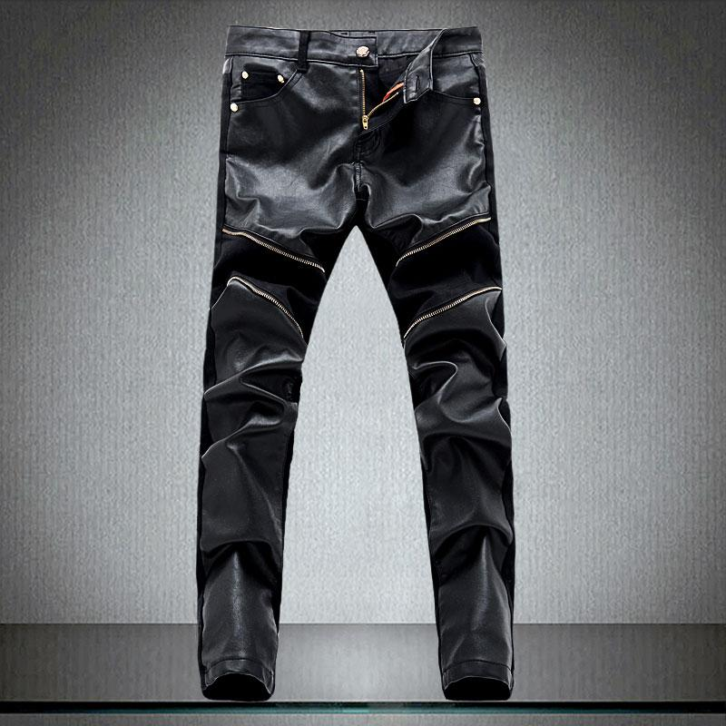 ca023de4a2dc Envío gratis primavera invierno moda HIP para hombre de cuero de imitación  pantalones de diseño de cremallera pantalones de chándal Skinny ...