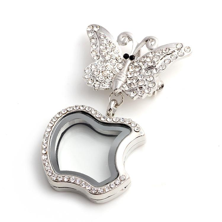 Floating Locket DIY Jewelry Memory Rhinestones Butterfly apple transparent glass frames floating charm lockets pendants keychain necklace