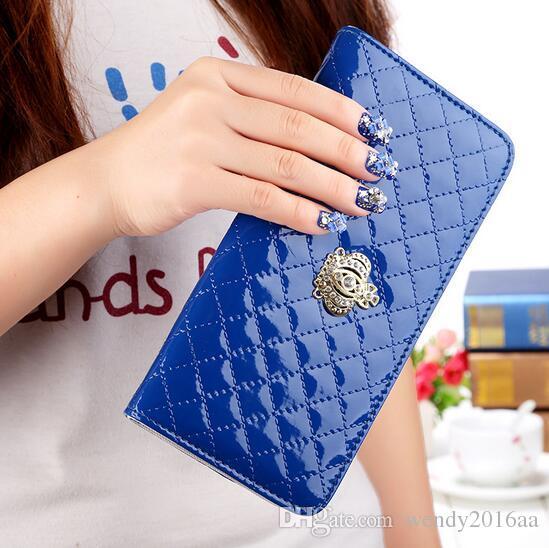 women purse wallet 2017 fashion classic womens wallets long crown grid credit card coin purses