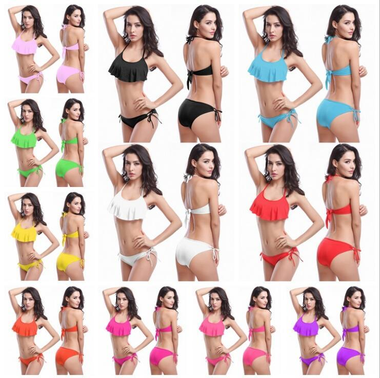 11Colors Designer Hot Flounce Top 2016 Halters Fashion Mature Women Sexy swimwear Padded Boho Tie Back Adjustable Bikinis Bra Sized Bottoms