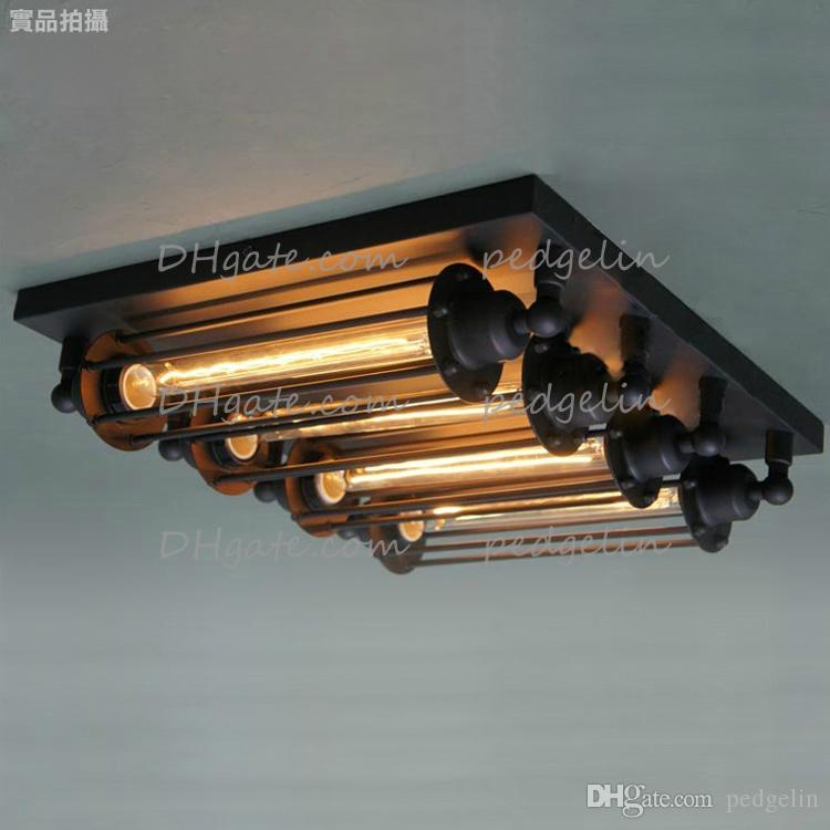 Wholesale Vintage Style Loft II Industrial Edison hotel cafe bar resteraunt ceiling Lights living room lamps retro study lamp with 4 cages