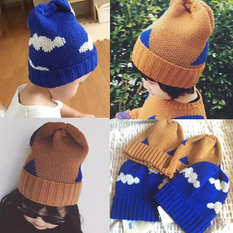 e45ff08b9a3 2019 2016 Baby Bobo Choses Autumn Winter Crochet Hat Kids Boys Girl INS  Fashion Cloud Triangle Pattern Knitted Warm Cap 1 8T From Us baby