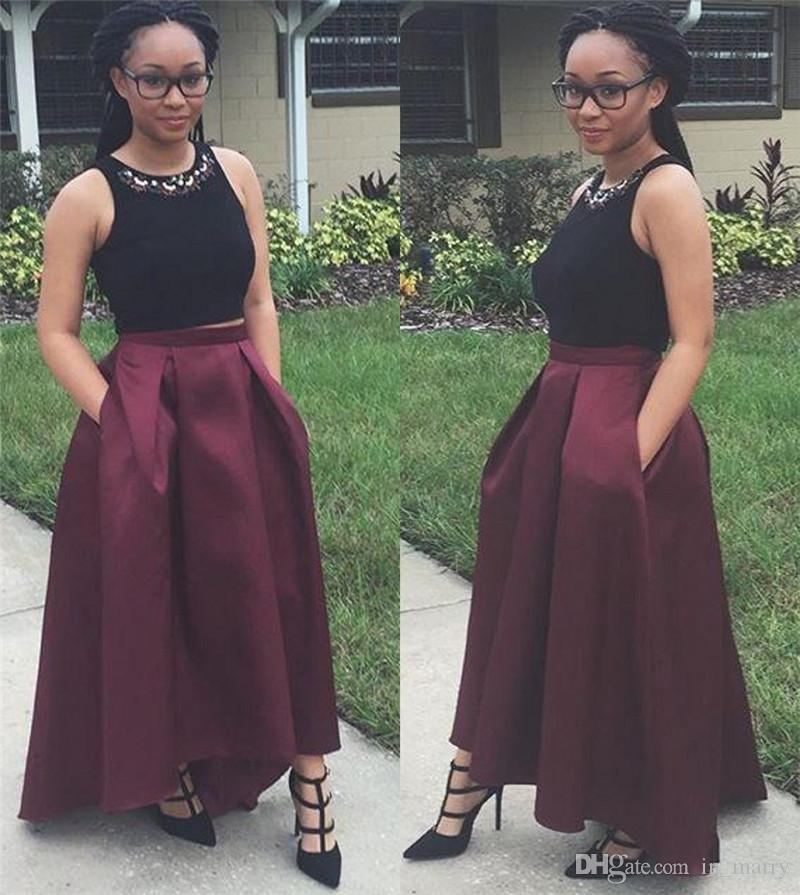 2016 Two Pieces High Low Prom Gowns Evening Dresses With Pockets