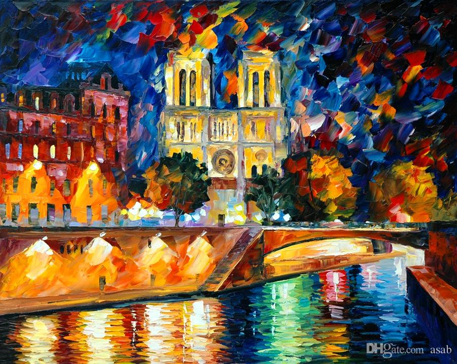 no frame on Canvas Prints Russian Federation Oil Painting flower tree leaf Bridge street lamp Umbrella pedestrian city house