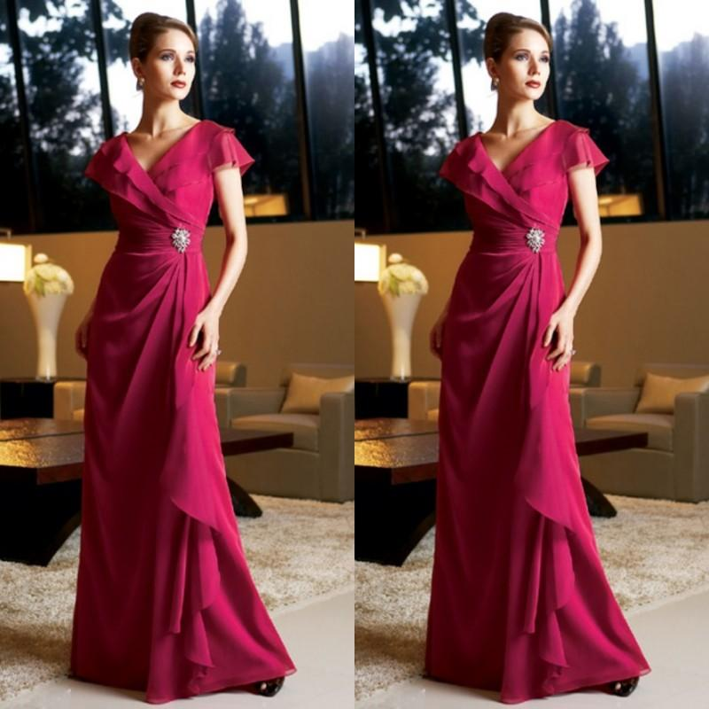 b6c0f046ee1 Modest Fuschia Dresses Long Formal Fuchsia Chiffon Mother Of The Bride Gowns  V Neck Cap Sleeves Crystals Wedding Guests Dress Plus Size Floral Mother Of  The ...