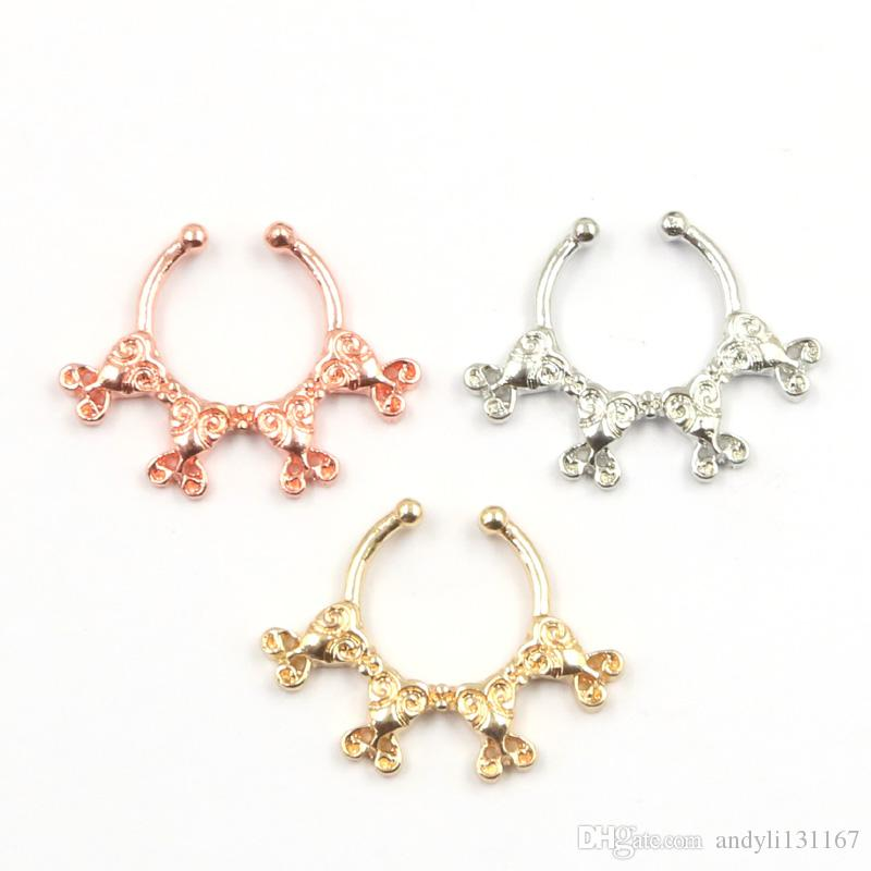 2015 New Design rose gold nose rings and studs fake ring indian piercing nose ring septum for women silver body jewelry N0061