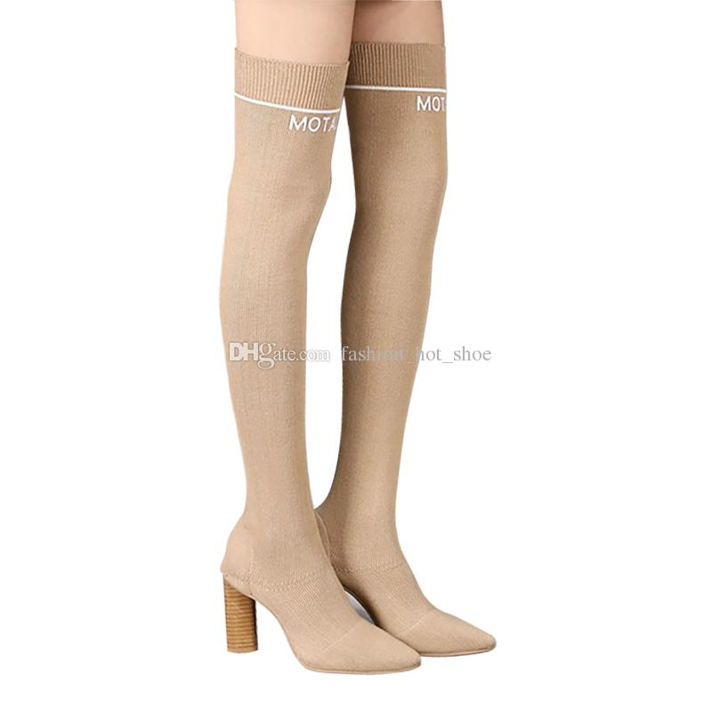 Fabric Knit Boots Women Over the knee High Chunky heels Beige Black Martin Sock Boots