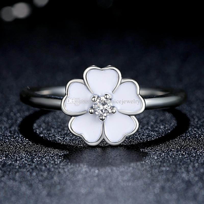Primrose Silver Rings With Cubic Zirconia And White Enamel