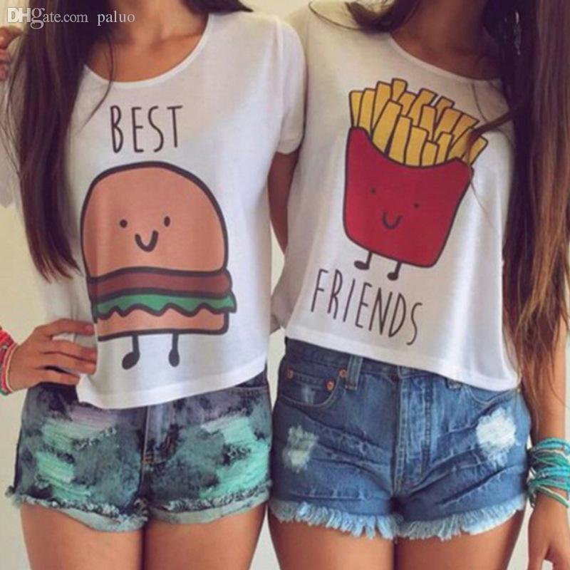 Wholesale 2015 Woman T Shirt Best Friend Tee Shirts Ladies Emoji ...