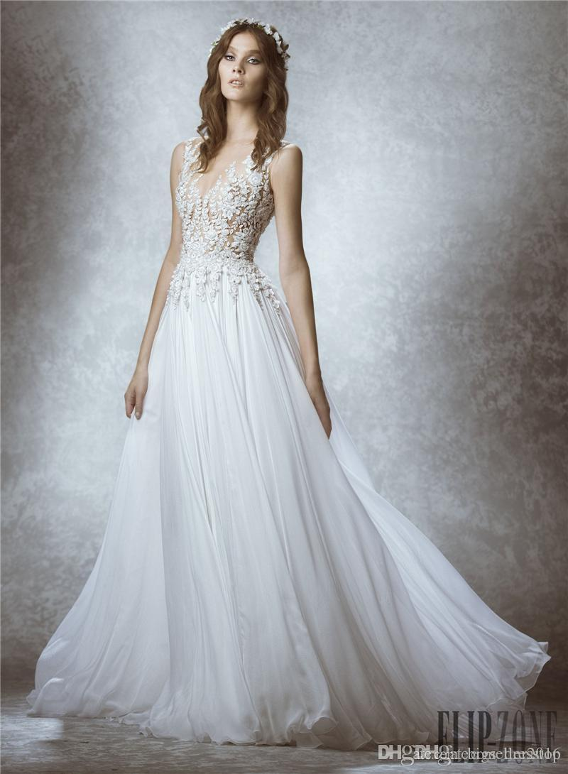 Discount 2015 Zuhair Murad Beads A Line Wedding Dresses Lace ...