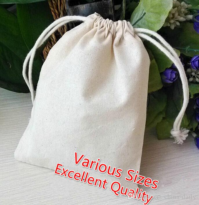 Free Ship S M L XL XXL Muslin Bag Cotton Bags Jewelry Bags Wedding Party Candy Beads Christmas Gift Storage Bag
