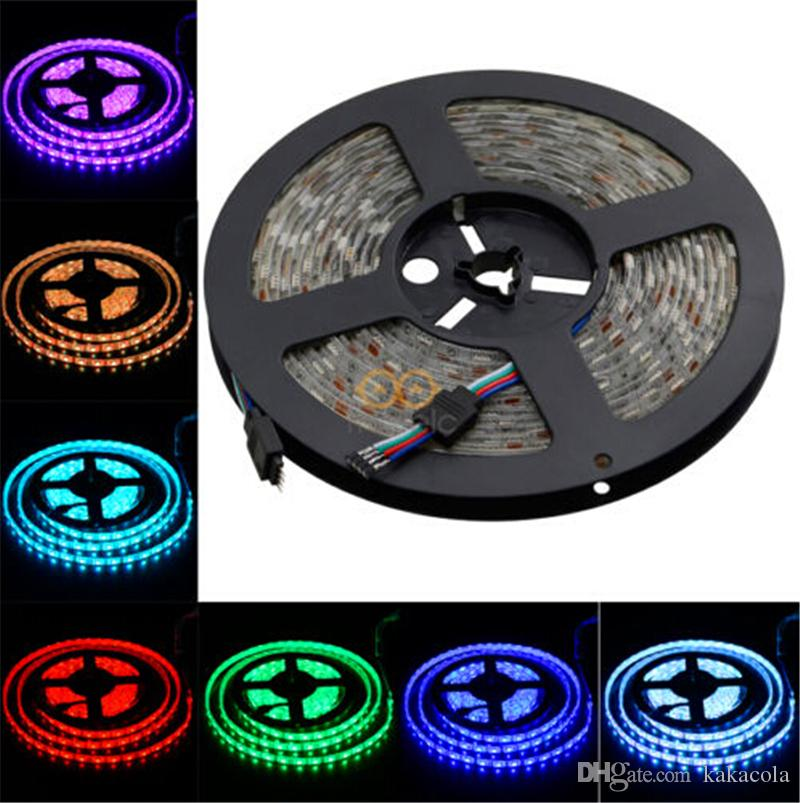 Waterproof Strips IP65 5M 300 Leds SMD 5050 RGB Lights Led Strips 60 leds M + Remote controller + 12V 5A power supply with EU AU UK US SW