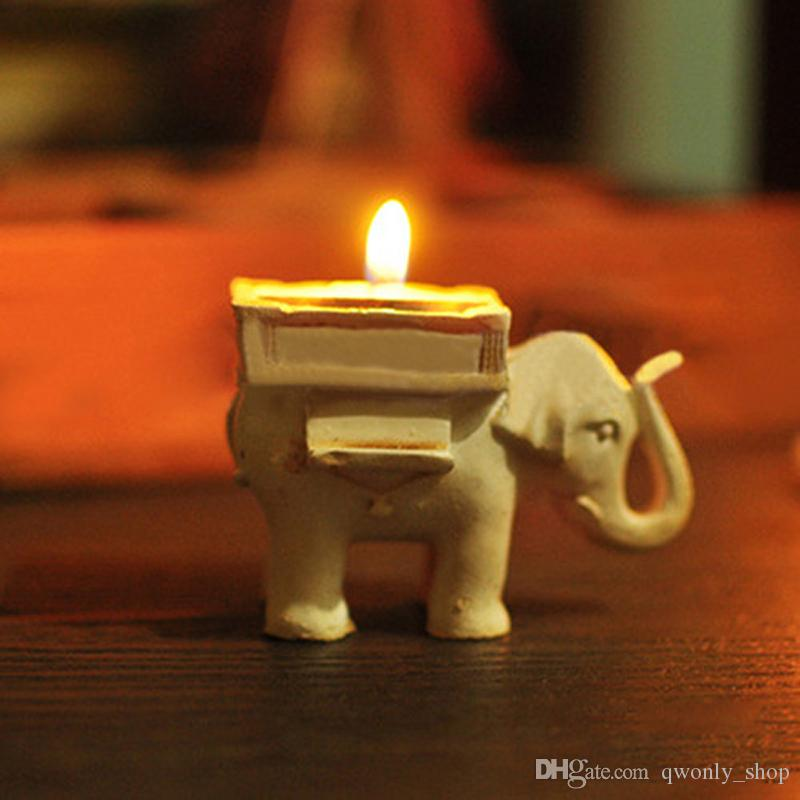Fashionable Style Resin Ivory Lucky Elephant Tea Light Candle Holder Wedding Party Home Decoration Gift Durable Candlestick