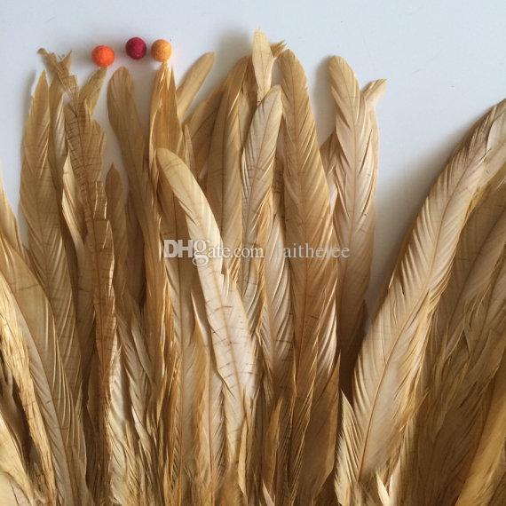 O envio gratuito de 100 pçs / lote 12-14 polegada COQUE galo pena de Ouro Solto para a decoração do partido decoração traje