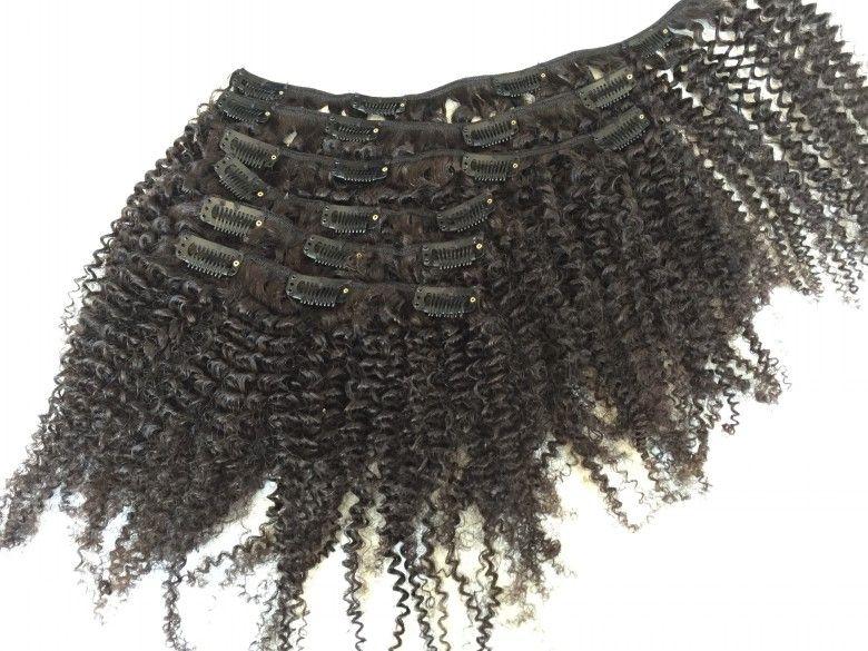Бразильские девственные волосы кудрявый вьющиеся клип в наращивание волос 6 шт. лот 120 г афро-американский клип в наращивание человеческих волос