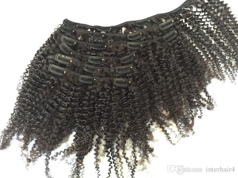 Clip riccia crespa afro crespa dei capelli vergini brasiliani nelle estensioni dei capelli umani / set 120g colore nero naturale stabilito della testa completa Trasporto libero