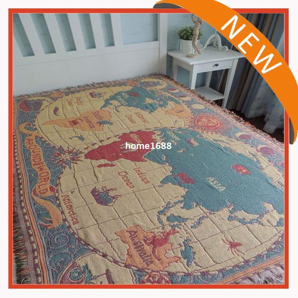 Wholesale New In English World Map Blanket Cotton Thread - World map blanket