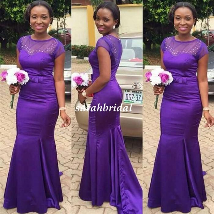 Beautiful Regency Purple Long Bridesmaid Dresses For Wedding 2016 Illusion  Beaded Bridal Party Formal Gowns Dubai Maid Of Honor Wear Cheap Designer ... 002d8d7e149f