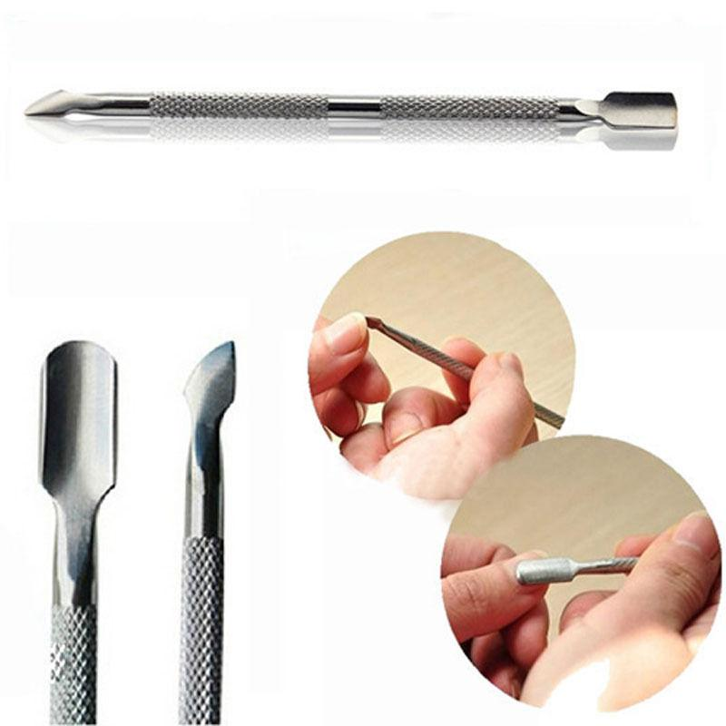 Nail Stainless Steel Cuticle Pusher Spoon Remover Manicure Pedicure ...