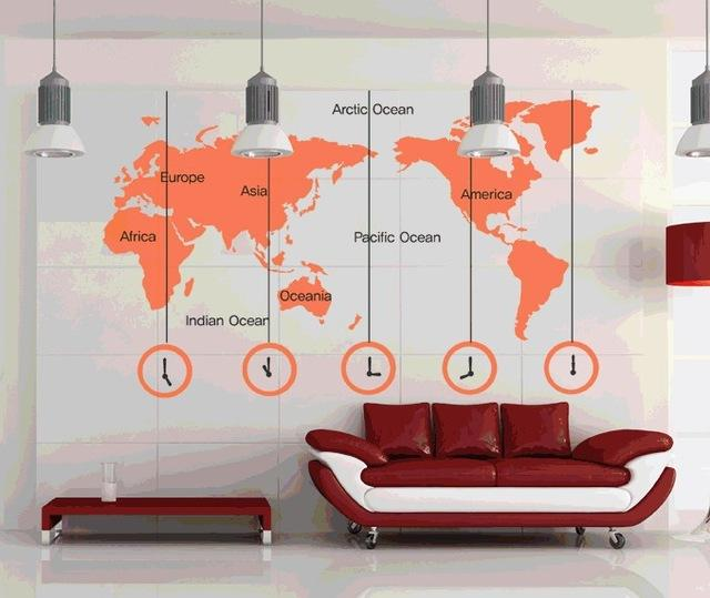 Wall sticker 223x170cm large world map words clock wall art vinyl see larger image gumiabroncs Choice Image