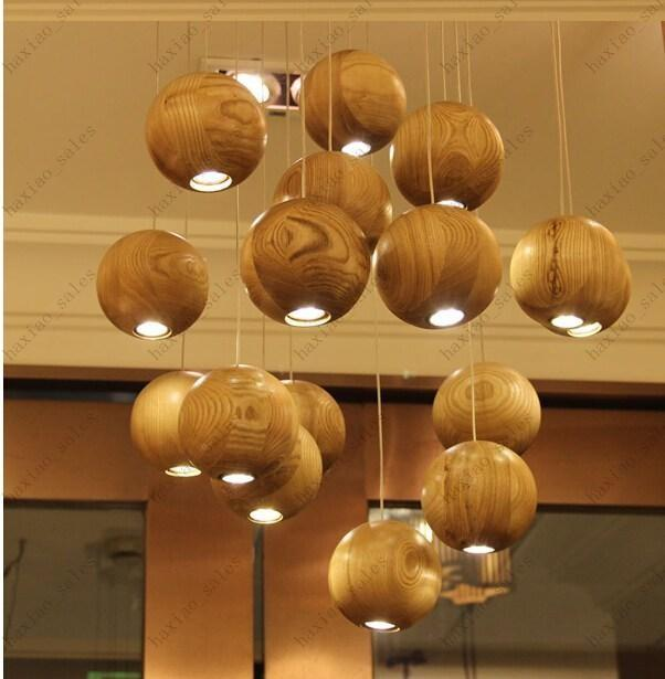 Discount Ship Solid Wood Globe Pendant Lamps Led Simple Pendants