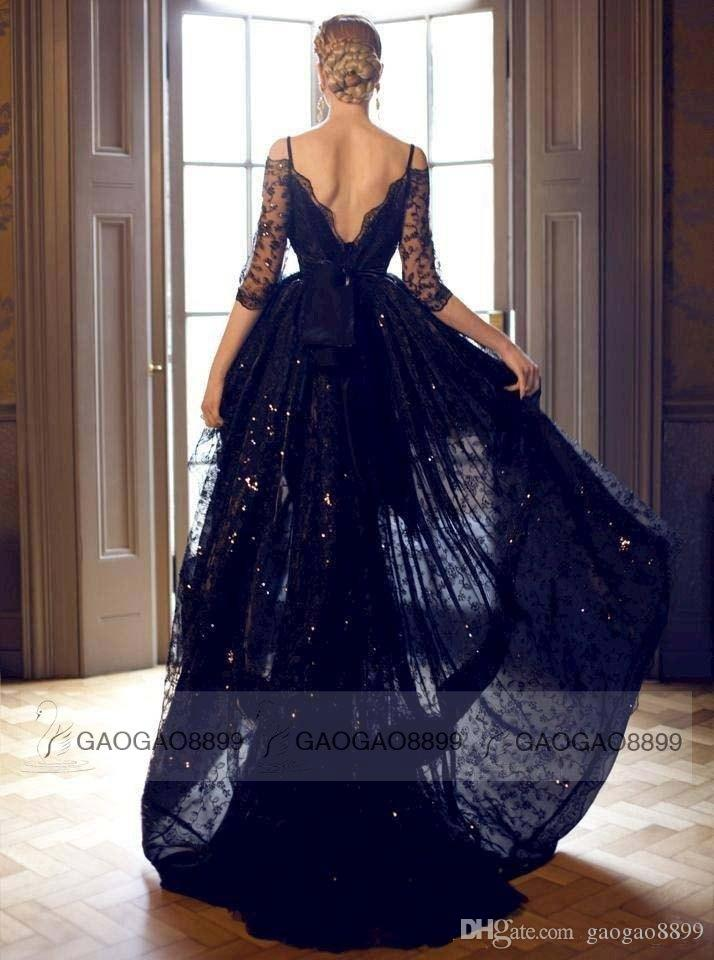 セクシーな黒いレースこんにちはLoフォーマルイブニングウエディングドレスオフショルダーバックレス長袖プラスサイズの有名人パーティーガウンアラビア語カスタム2019