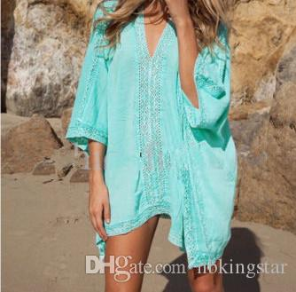 V-neck Bikini Cover Up Lace Hollow Beach Dress Tops Beachwear Cover-ups