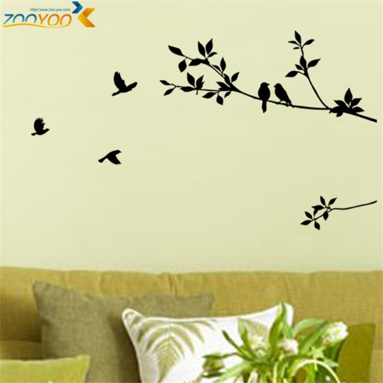 Birds On Branches Tree Wall Decals Zooyoo8171 Decorative Sticker Bedroom  Wall Arts Classical Black Removable Vinyl Bird Stickers Sticker Walls  Stickers ...