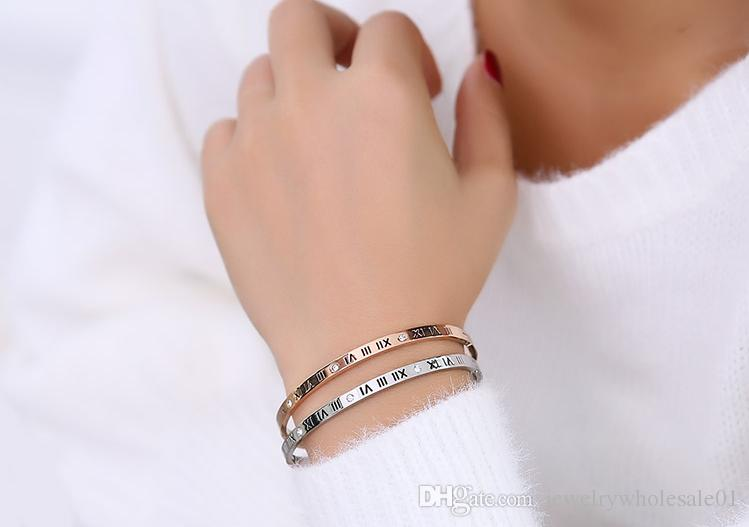 Fashion crystal Heart Shape Cuff Bracelet Roman Number Prom Ornament Gift woman 316 titanium stainless Steel bracelets & bangles for women